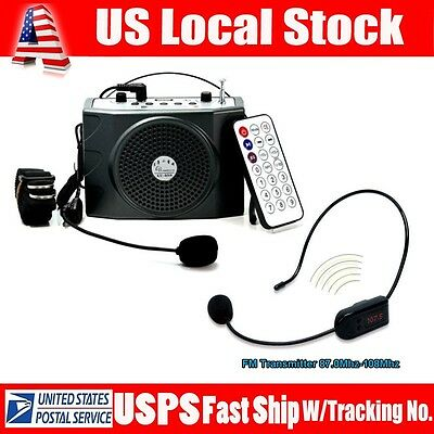 USA Teacher Voice Booster 25W PA Amplifier Loudspeaker FM + Wireless Microphone