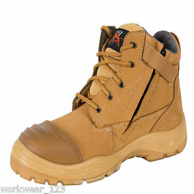 Cougar Zip Side Safety Work Boots Steel Cap Suede Leather Bump Cap Wheat