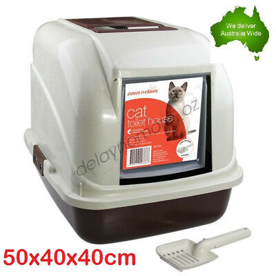Cat Toilet Litter Tray Box House with Handle & Scoop Portable Carrier New VIC