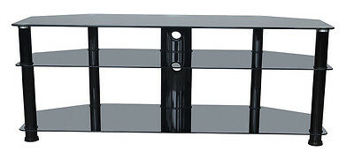 """Black glass tv stand 1300mm(51"""") wide for 32 inch to 55 inch LCD LED 4K screens"""