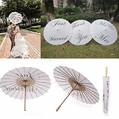Just Married Mr&Mrs Thank You White Bamboo Paper Parasol Umbrella Wedding Party