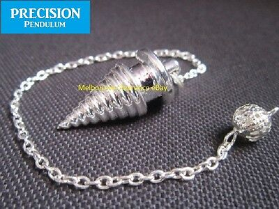 Silver Psychic Wave Solid Metal Precision Pendulum with Chain Dowsing Divination