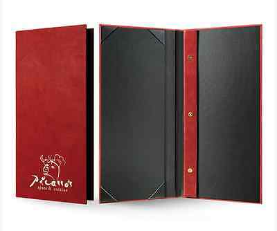 10 Custom-Made PU Leather Menu Cover + Debossing  Different Size Available
