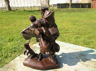 Hand Carved Wood Statue Figurine Old Man with Baby in Bag Dog Lovely 8.66""