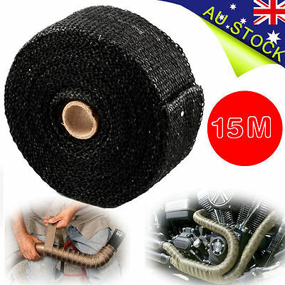 2000F BLACK EXHAUST HEAT WRAP 50MM X 15M + 10 STAINLESS STEEL TIES AU Local