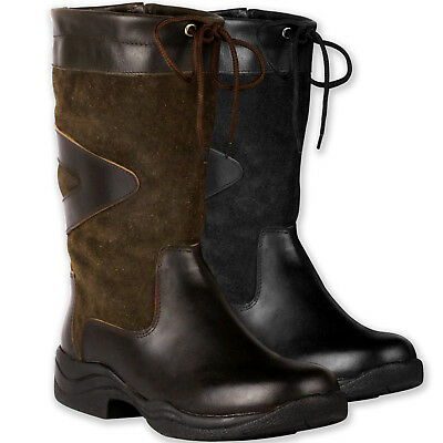 3/4 Genuine Leather & Suede Stable Yard Boots Horse Pony Riding / Show Sizes 3-9