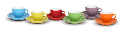 Set of 6 Coffee Espresso Porcelain Cups With Saucers Coloured