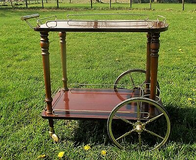 Vintage Mid Century Wooden Veneer Iron Cocktail Bar Cart Trolley era Aldo Tura