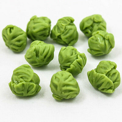 10x Green Cabbage Vegetable Clay Miniature Dollhouse 15mm Craft Handmade A1376