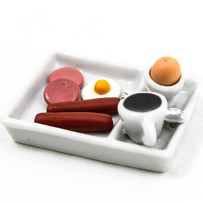 Set of American Breakfast Egg Food Model Dollhouse Miniature Handcrafted A1386