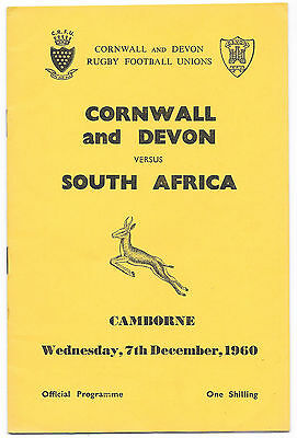 1960 - Cornwall and Devon v South Africa, Touring Match Programme.
