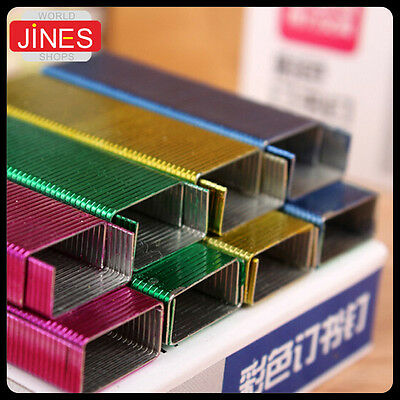5 packs Colorful Staples Office School Binding 4000pcs/5 packs 24/6 Stationery