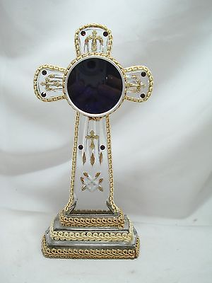 Double Sided Glass Cross Reliquary Display