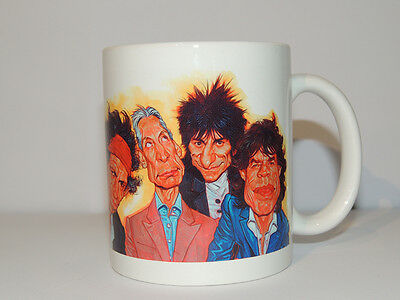 Mug Rolling Stones Caricature - Gift Cup - Mick Jagger Keith Richards Guitar