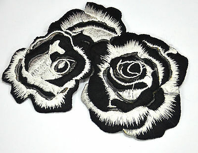 BLACK & WHITE ROSE FLOWER  Embroidered Sew Iron On Cloth Patch APPLIQUE SEWING