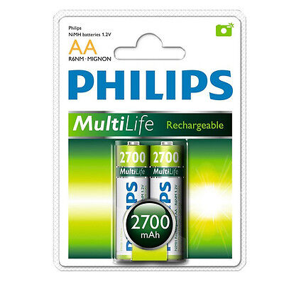 2 x Philips Multilife 2700 mAh R6 NiMH AA Rechargeable Batteries *NEW*