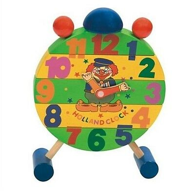 Wooden Clown Puzzle Clock Educational Learning Classic Toy New