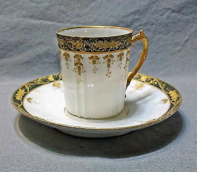 Vintage Limoges Green & Gold Demitasse Tea Cup & Saucer, Early Twentieth Century