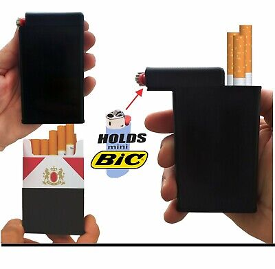 Black Cigarette Case Box Tobacco Lighter Holder Kings 100's RYO