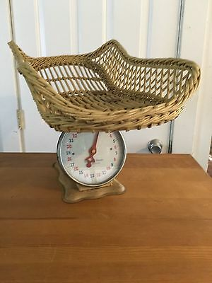 Vintage Nursery American Family Scale Wicker Basket Cream shabby cottage Baby