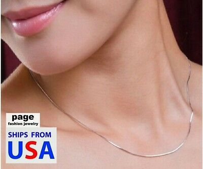 """USA Seller- 925 Sterling Silver 1mm Snake Chain 18"""" 20"""" 22"""" 24"""" Necklace Jewelry"""