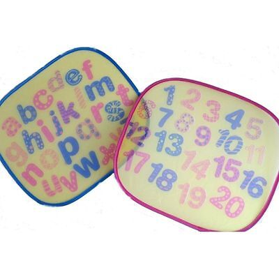 Pair of Baby Car Sun Shade Alphabet Numbers Letter Window Sunshade Blinds Shield