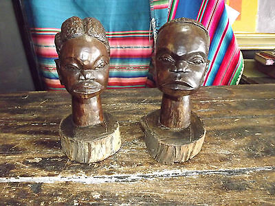 Antique Or Vintage Pair Of Primitive African Carved Ebony Heads From Logs 7In Ta