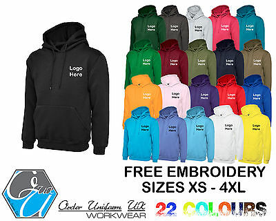 Personalised EMBROIDED Pullover Hoodie Workwear Uniform Custom Left Chest Text