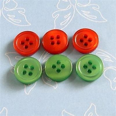 100 Wholesale Mixed lot Christmas X'mas Sewing Button Red + Green 11.5mm S240