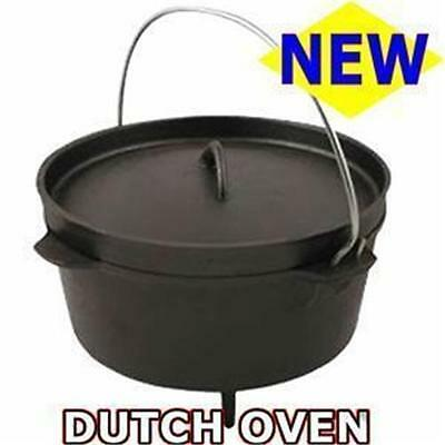Dutch Oven Cast Iron Bushcraft Camping Fishing Hunting Cook 4.5