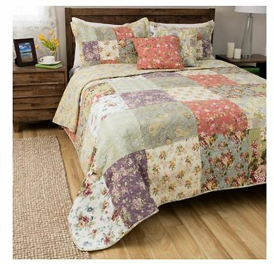 Blooming Prairie 100 Percent Cotton Reversible Patchwork 3-Piece King Quilt Set