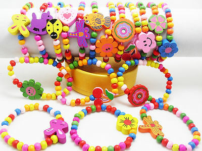 Lots 12 wood  kids children party birthday wristband bracelets
