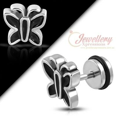 G-1.2mm | Stainless Steel 2-tone Butterfly Faux Fake Ear Plug BR012