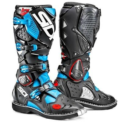 Sidi NEW 2016 Mx Crossfire 2 Stitched Sole Euro Black Light Blue Motocross Boots