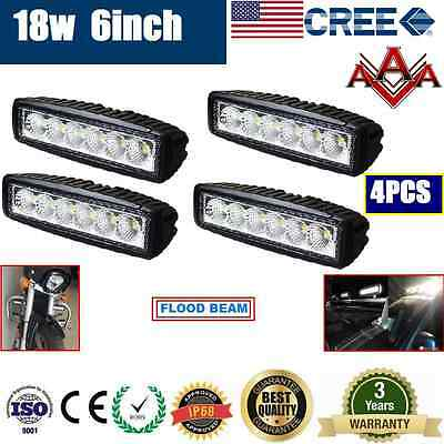 4x 6inch 18W LED WORK LIGHT OFFROAD FLOOD DRIVING BAR CAR AUTO BOAT LAMP ATV SUV