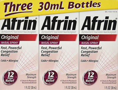 Afrin Original Nasal Spray Decongestant Congestion Allergy Relief 1 oz, 3 boxes