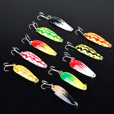 10Pcs Spoon Metal Fishing Lure Bait Bass Fishing Bait Tackle 10# Hook 4cm/7g