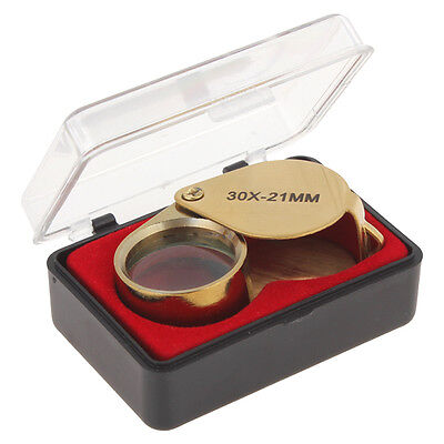 Golden 30X Zoom In Magnifier 21mm Diameter Optical Glass Lens Jeweler's Loupe