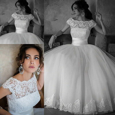 Modest White/Ivory Lace Ball Gown Wedding Dresses Princess Bridal Gown Size 6-16