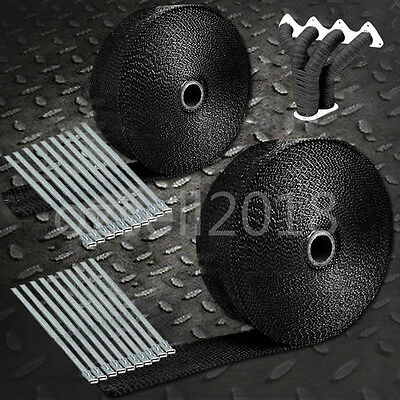 30M 2pcs 2000F BLACK EXHAUST HEAT WRAP 50MM X 15M + 20 STAINLESS STEEL TIES