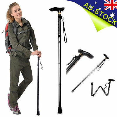 Adjustable WALKING STICK Travel Retractable Hike Folding Cane Metal Pole Compact