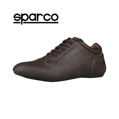 NEW Sparco Mens Brown Leather Sneakers Sport Casual Driving Racing Shoes Sale
