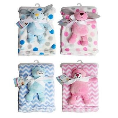 First Steps Fleece Baby Blanket in 4 Designs & Matching Soft Toy 75x100cm FS449