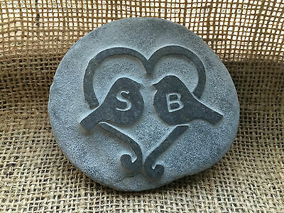 Hand made Love birds Pebble, personalised with initials perfect Wedding day!