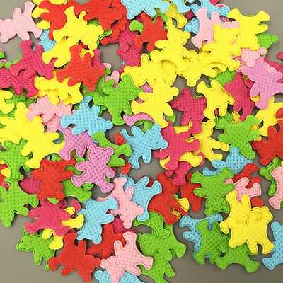 200pcs Mixed Colors Die Cut Bear Shape Felt Appliques Cardmaking decoration