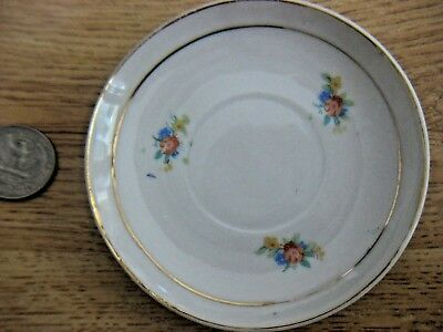 "ANTIQUE Duo Gold BOARDER 3.7"" SAUCER PLATE  BUTTER PAT White w 3 Floral Bouquets"