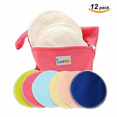 Reusable Nursing Breast Pads Antibacterial Soft Bamboo Water Absorbent Washable