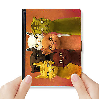 Feline Family Genuine Leather Rfid Blocking Passport Cover Wallet Organizer