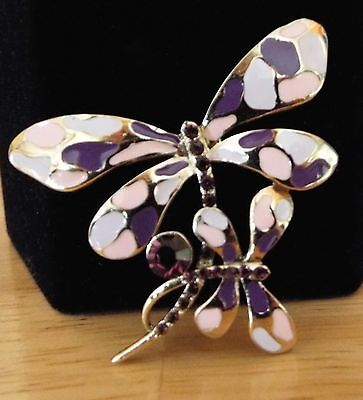 New Dragonfly Mother & Baby Gold Tone Brooch, Pin. Enamel & Rhinestones