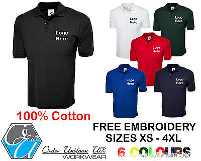 Personalised Embroidered Polo Shirt 100% Cotton Workwear, Uniform, Business